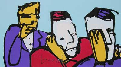 Schilderij van Herman Brood - Horen zien en zwijgen